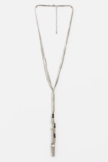 MULTI CHAINS W BEAD TASSEL NECKLACE